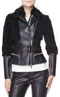 Burberry London Fitted Leather Shearling Fur Biker Jacket - Lyst