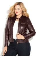 Michael Kors Michael Plus Size Seamed Zipfront Leather Jacket - Lyst
