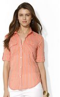 Lauren by Ralph Lauren Striped Cottonsilk Shirt - Lyst