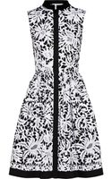 Oscar de la Renta Printed Stretchcotton Shirt Dress - Lyst