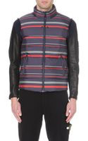 Undercover Striped Leather-sleeve Quilted Jacket Navy - Lyst