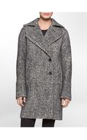 Calvin Klein Wool Blend Speckled Coat - Lyst