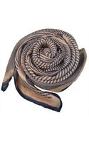 Terracotta New York The Sidney Navy and Tan Stripes Silk Scarf - Lyst