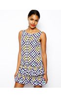 Love Moschino Drop Waist Dress with Ruffle Skirt in Mixed Print - Lyst