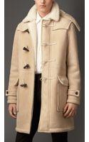 Burberry Heritage Detail Shearling Duffle Coat - Lyst