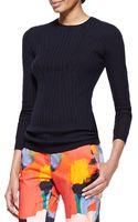 Lela Rose Linear Ribbed Crewneck Wool-silk Top - Lyst