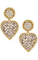 Jose & Maria Barrera Crystal Heart Drop Clipon Earrings Clear - Lyst