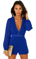 Missguided Cia Long Sleeve Vneck Playsuit in Cobalt Blue - Lyst
