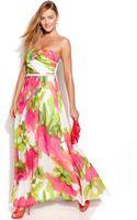 Calvin Klein Strapless Floralprint Embellished Gown - Lyst