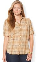 Lauren by Ralph Lauren Plus Plaid Rolltab Shirt - Lyst