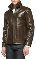 Andrew Marc Shearling Fur-trim Rugged Leather Jacket - Lyst