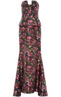 Oscar de la Renta Floralprint Bustiereffect Gown - Lyst