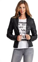 Guess Jackie Coated Cotton Moto Jacket - Lyst