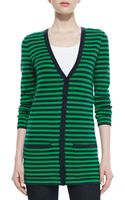 Michael Kors Super Soft Cashmere Striped Boyfriend Cardigan Midnightpalm - Lyst