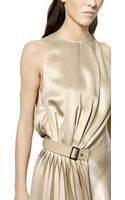 Ferragamo Silk Satin Sleeveless Dress - Lyst