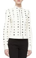 Michael Kors Grommet Detailed Leather Moto Jacket Optic White - Lyst
