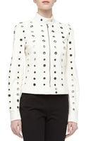 Michael Kors Grommet Detailed Leather Moto Jacket Optic White - Lyst