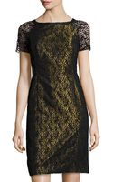 Lafayette 148 New York Lace Contrast-underlay Dress - Lyst