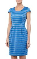 Marc New York By Andrew Marc Metallic Striped Capsleeve Dress - Lyst