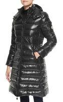 Moncler Hooded Long Puffer Coat Black - Lyst
