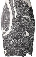 Lela Rose Black Ivory Swirl Print Skirt - Lyst