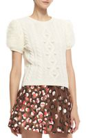 RED Valentino Aran Shortsleeve Cableknit Pullover - Lyst