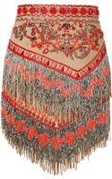 Emilio Pucci Suede Embellished Fringed Skirt - Lyst