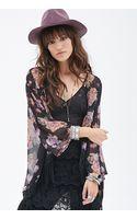 Forever 21 Rose Print Kimono - Lyst