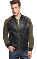 Guess Coated Bomber Jacket - Lyst