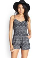 Forever 21 Abstract Tribal Print Romper - Lyst