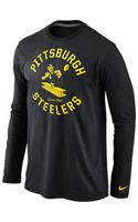 Nike Mens Longsleeve Pittsburgh Steelers Retro Stamp It Tshirt - Lyst