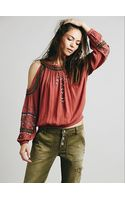 Free People Embellished Banded Open Shoulder Top - Lyst