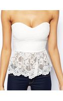 Asos Bandeau Top in Lace with Godet Hem - Lyst