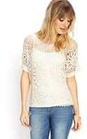 Forever 21 Crochet Lace Knit Top - Lyst