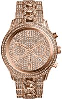 Michael Kors Womens Chronograph Lindley Pavè Rose Goldtone Stainless Steel Bracelet Watch 48mm - Lyst