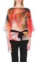 Roberto Cavalli Tropical Print Silk Kaftan Top - Lyst