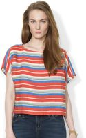 Lauren by Ralph Lauren Shortsleeve Striped Linen Top - Lyst