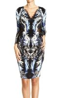 Roberto Cavalli Dress Long Sleeve Jersey Print Penrose with Lace - Lyst