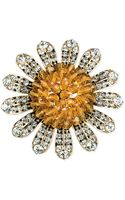 Jones New York Goldtone Orange Bead and Crystal Sunflower Pin - Lyst