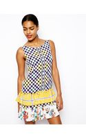 Love Moschino Drop Waist Dress with Ruffle Skirt in Mixed Print - Lyst