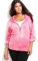 Calvin Klein Plus Size Roll-tab Sleeve Hoodie - Lyst