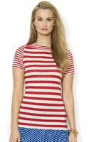 Lauren by Ralph Lauren Petite Shortsleeve Striped Boatneck Linen Tee - Lyst