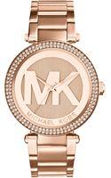 Michael Kors Womens Parker Rose Goldtone Stainless Steel Bracelet Watch 33mm - Lyst
