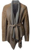 Liska Draped Knitted Front Jacket - Lyst