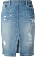 Marc By Marc Jacobs Distressed Denim Skirt - Lyst
