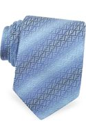Fendi Jacquard Zucchino Logo Narrow Silk Tie - Lyst