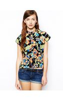 Asos Cropped Blouse in Neon Floral - Lyst