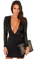 Missguided Pippa Sequin Top V-neck Mini Dress in Black - Lyst