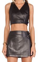 T By Alexander Wang Leather Wrap Crop Top - Lyst