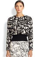 Oscar de la Renta Cropped Wool Jacket - Lyst